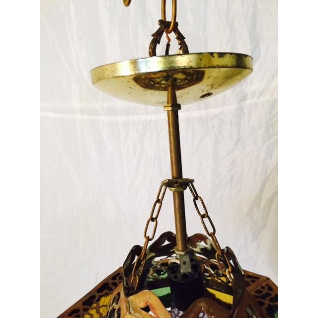 Small Moroccan Brass & Glass Chandelier - Image 6 of 7