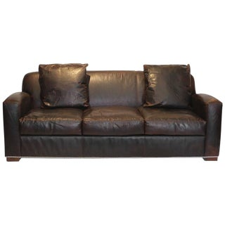 "New Ralph Lauren ""Graham"" Leather Sofa"