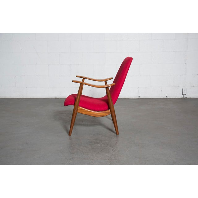 Mid-Century Magenta Upholstery Teak Lounge Chair - Image 4 of 10