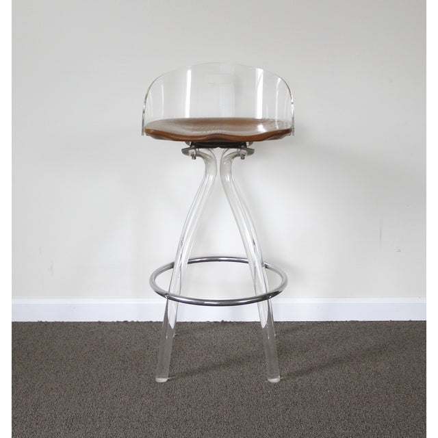 Lucite & Wood Bar Stool - Image 3 of 9