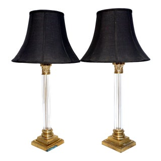 Frederick Cooper Brass & Lucite Table Lamps