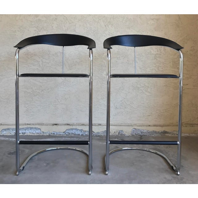 Modern Bar Stools In The Style of Anton Lorenz for Thonet- A Pair - Image 2 of 11
