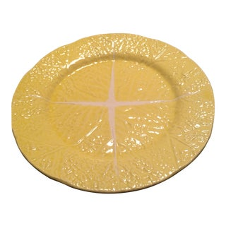 Yellow Majolica Cabbage Leaf Platter