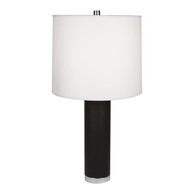Ralph Lauren Black Leather & Chrome Table Lamp - Image 1 of 8