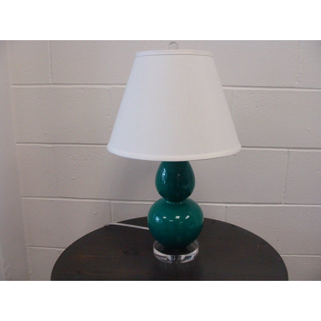 Image of Emerald Double Gourd Table Lamps - A Pair