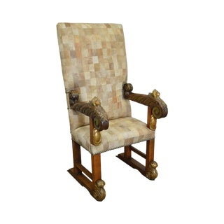 18th Century Italian Renaissance Patchwork Leather Upholstered Partial Gilt Throne Chair