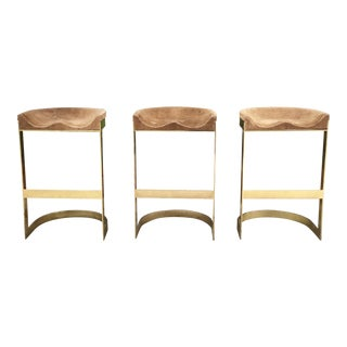 Set of 3 Vintage Brass Stools by Warren Bacon