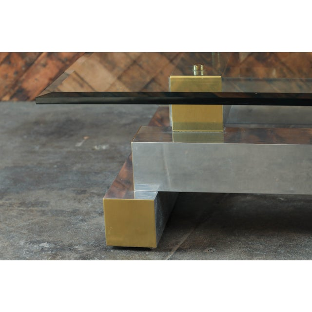Paul Evans Style Vintage Chrome & Brass Coffee Table - Image 5 of 7