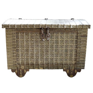 19th-C. Indian Brass & Iron Trunk