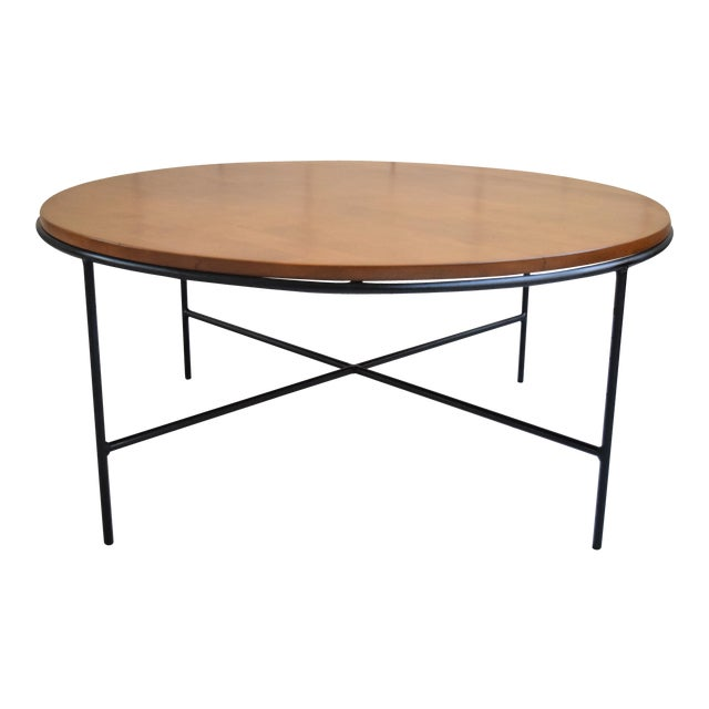 Paul McCobb Mid Century Modern Iron Base Round Coffee Table - Image 1 of 11