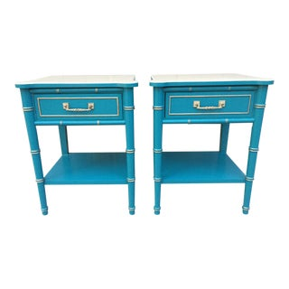 Turquoise Faux Bamboo Lacquered Vintage Nightstands - A Pair