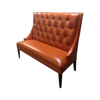Custom Orange Faux Leather Banquette