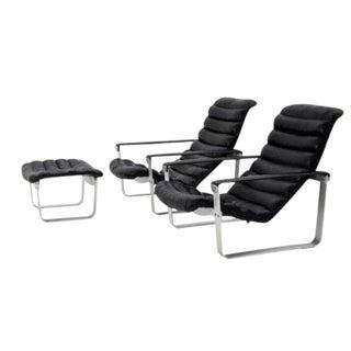 Ilmari Lappalainen for Asko Pulkka Chairs & Ottoman - Set of 3