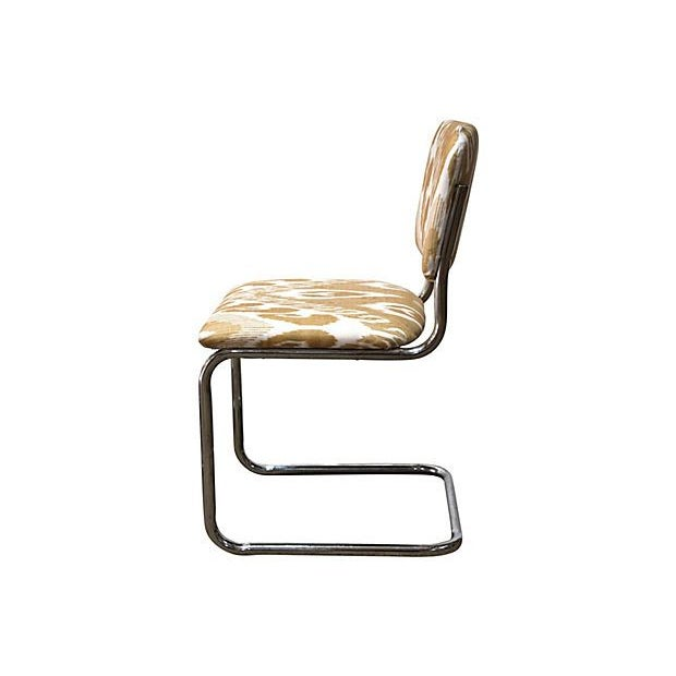 Ikat Cantilevered Chrome Chairs - Set of 4 - Image 7 of 7