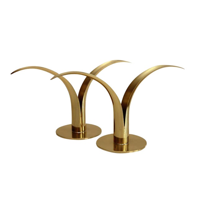 Image of Swedish Brass Candlesticks- A Pair