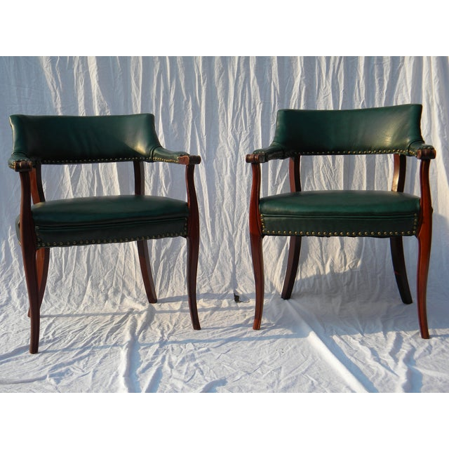 Image of Dark Green Occasional Chairs - A Pair