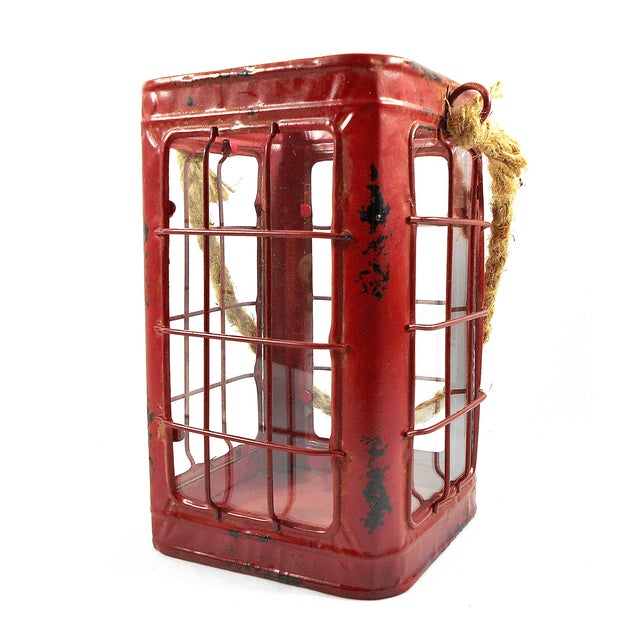 Red Rustic Tin Glass Candle Lantern & Rope Handle - Image 3 of 6