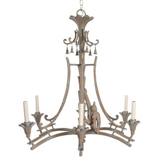Serge Roche Style Plaster Chinoiserie Palm Chandelier