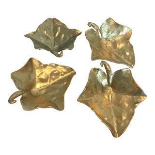 Vintage Gold Metal Leaf Dishes - Set of 4