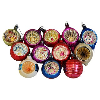 Midcentury Fancy Christmas Tree Ornaments w/Box - Set of 12