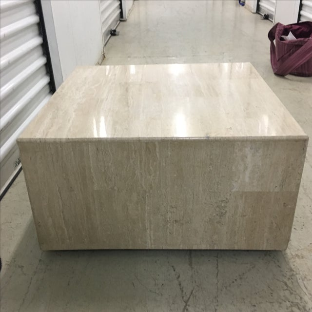 Rolling Travertine Cube Side Table - Image 5 of 8