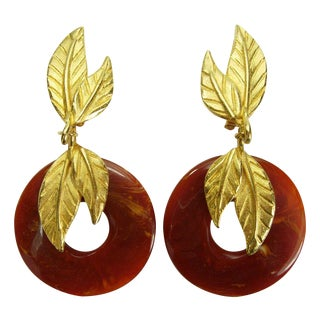80s Dauplaise Tribal Faux Amber Leaf Form Earrings