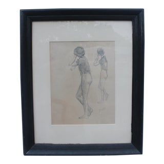 James Battle Two Standing Women Charcoal On Paper Drawing