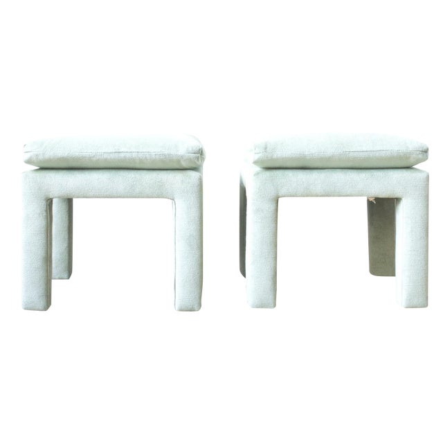 Image of Drexel Green Parson Style Stools - Pair