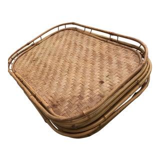 Vintage Bamboo Tiki Trays - Set of 5