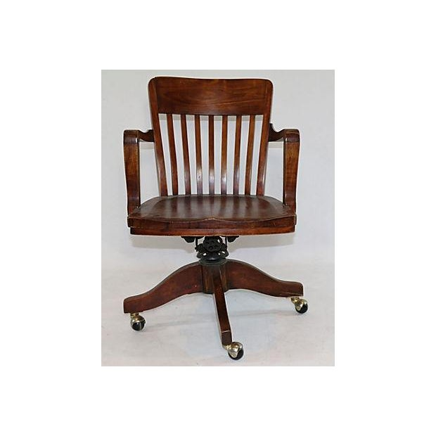 Image of Vintage Solid Walnut Office Chair