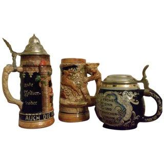 Vintage Beer Steins - Set of 3
