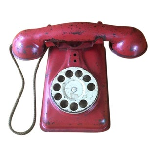 Red Pressed Steel Telephone Toy