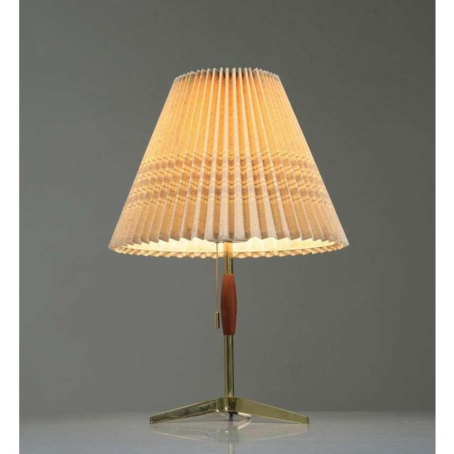 Brass And Wood Table Lamp With Pleated Fabric Shade, 1950s - Image 2 of 5