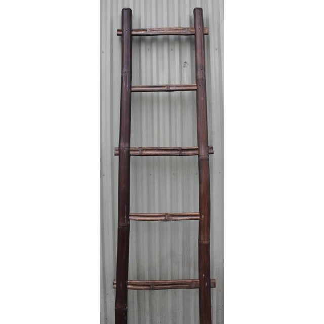 Folky 19th Century Bamboo Handmade Textile Ladder - Image 7 of 8