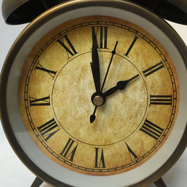 Image of Antique Style Brushed Brass Alarm Clock