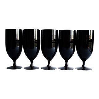 Mid-Century Black Glasses - Set of 5