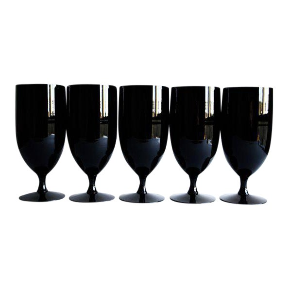Image of Mid-Century Black Glasses - Set of 5