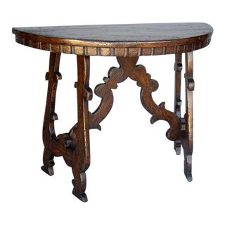 Custom Wood Demi Lune Table With Lyre Leg Base And Dental Molding