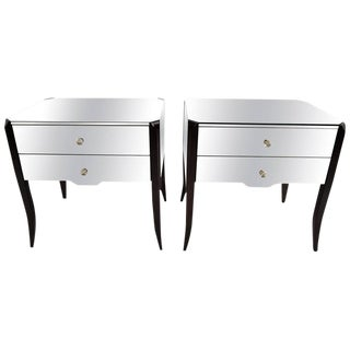 Pair of Modern Smoked Mirrored Side Tables by Amy Howard