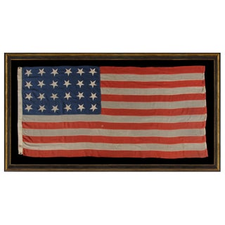 24 STARS AND 13 STRIPES ON A SOUTHERN-EXCLUSIONARY FLAG OF THE CIVIL WAR PERIOD, PROBABLY 1861 OR 1863-64, AN EXTREMELY RARE STAR COUNT