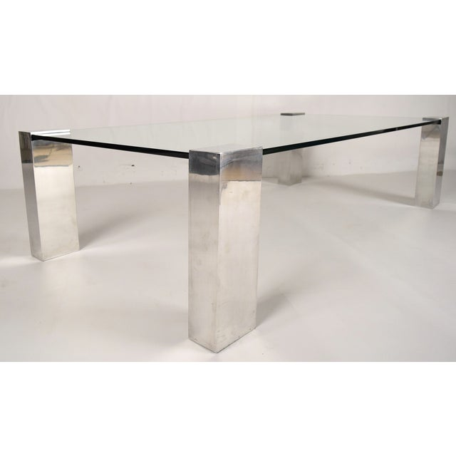 Image of Mid-Century Modern Chrome & Glass Coffee Table