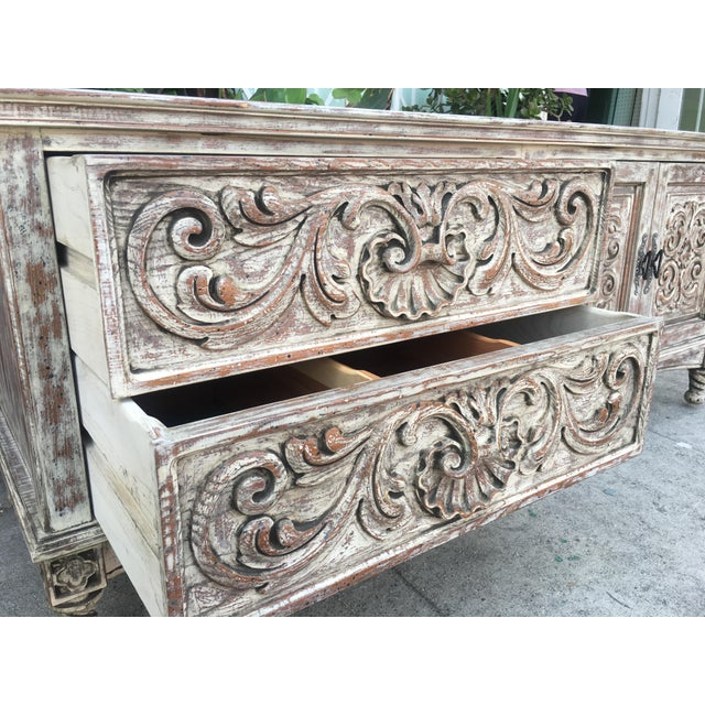 French Style Distressed Cabinet - Image 5 of 11