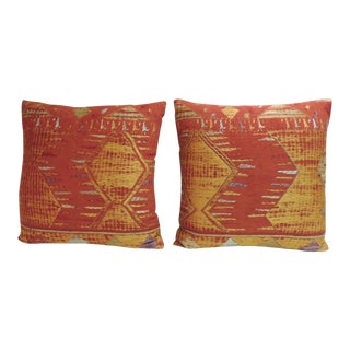 Pair of Antique Tribal Moroccan Embroidered Linen Decorative Pillows