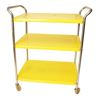 Cosco Mid Century Yellow 3 Tiered Metal Tea Cart
