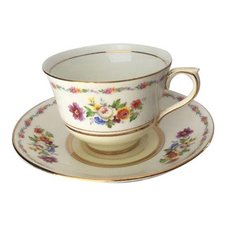 Floral English Bone China Tea Cup & Saucer