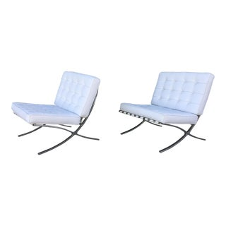 Vintage Barcelona Leather Lounge Chairs - A Pair