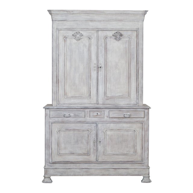 Antique French Painted Oak Louis Philippe Buffet a Deux Corps Cabinet circa 1850 - Image 1 of 11