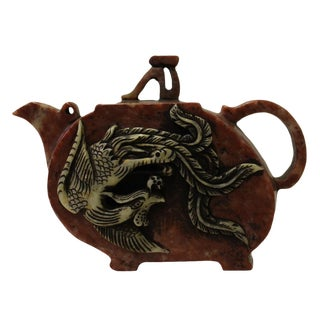 Chinese Brown Red Soap Stone Phoenix Carved Teapot Display Art