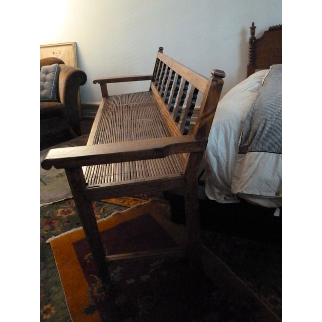 Reclaimed Tucker Robbins Exotic Wood Bench - Image 6 of 10