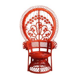 Mid-Century Tomato Orange Peacock Chair